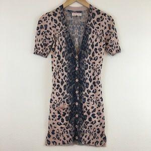 Rebecca Taylor pink gray leopard print top blouse